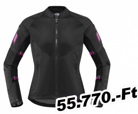 2d5fc74449ce Női motoros kabát -textil Icon dzseki NŐI háló AF fekete L - Motorosbolt