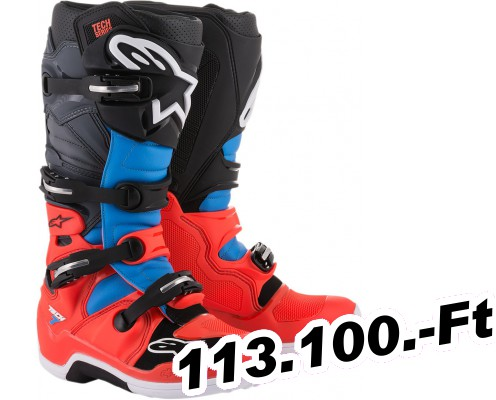 Felnőtt Off-road csizma Alpinestars(mx) TECH 7 OFFROAD csizma RED/CYAN/GRAY/BLACK 16